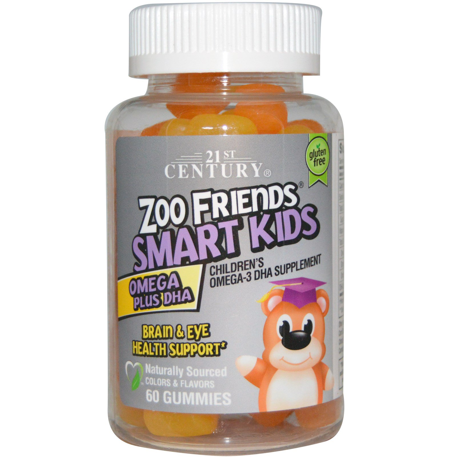 21st Century, Zoo Friends Smart Kids Omega + DHA, 60 gummys