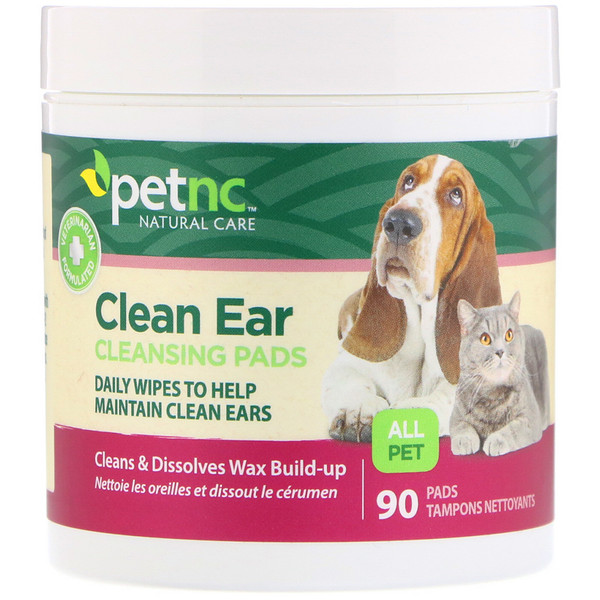 petnc NATURAL CARE, Clean Ear Cleansing Pads, For Cats and Dogs, 90 Pads (Discontinued Item)
