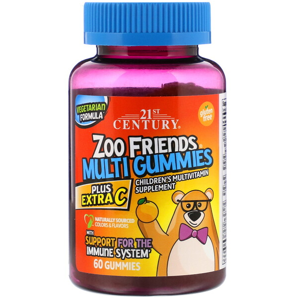 21st Century, Zoo Friends Multi Gummies, Plus Extra C, 60 Gummies
