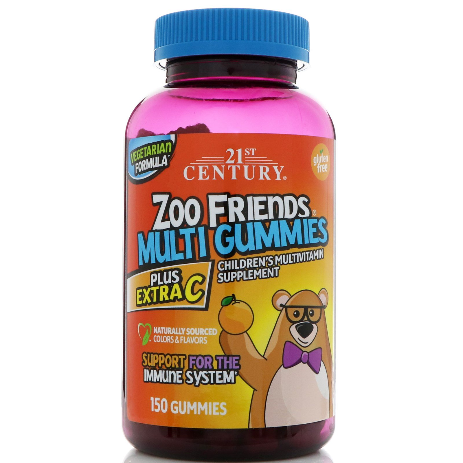 21st Century, Zoo Friends Multi Plus Extra C, 150 gummies