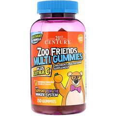 21st Century, زوو فريندز حلوى مطاطية، مكمل غذائي بفيتامينات متعددة للأطفال، زائد سي إضافي، 150 حلوى مطاطية