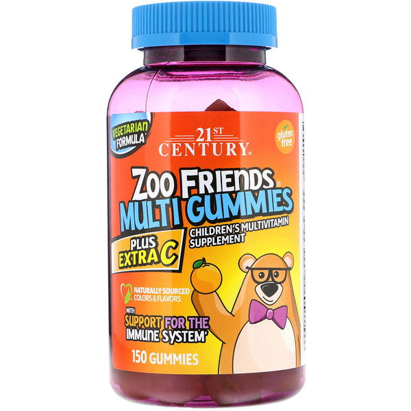 21st Century, Zoo Friends Multi Gummies, Plus Extra C, 150 Gummies (Discontinued Item)