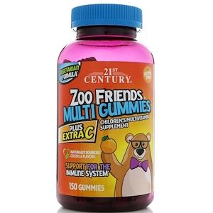 21st Century, Zoo Friends Multi Gummies, Plus Extra C, 150 Gummies