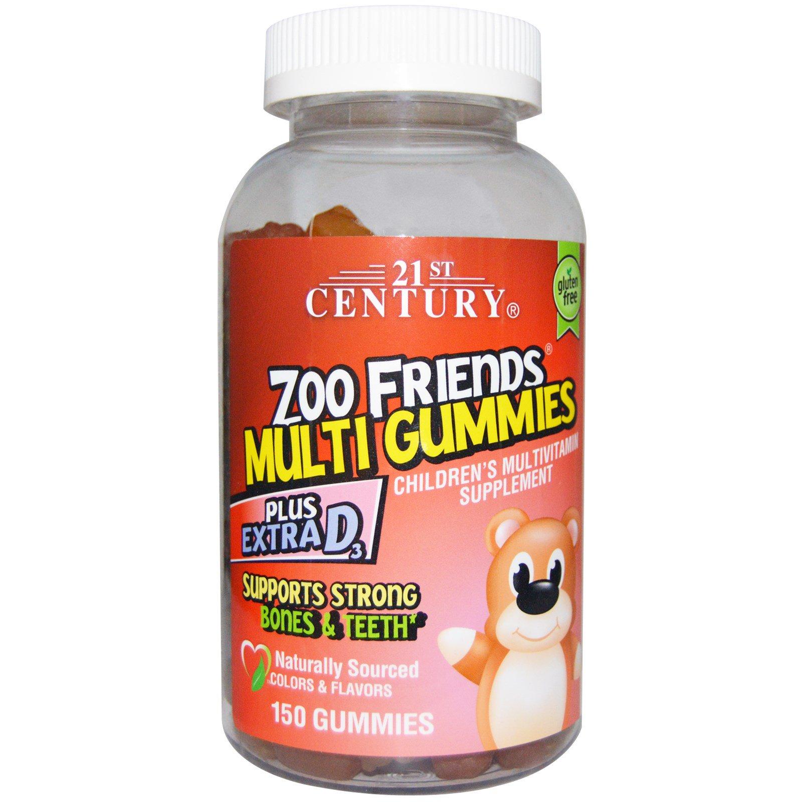 21st Century, Жевательные мультивитамины Друзья из Зоопарка, Мультивитаминная пищевая добавка для детей, 150 жевательных таблеток