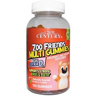21st Century, Zoo Friends Multi Gummies, Children's Multivitamin Supplement, 150 Gummies
