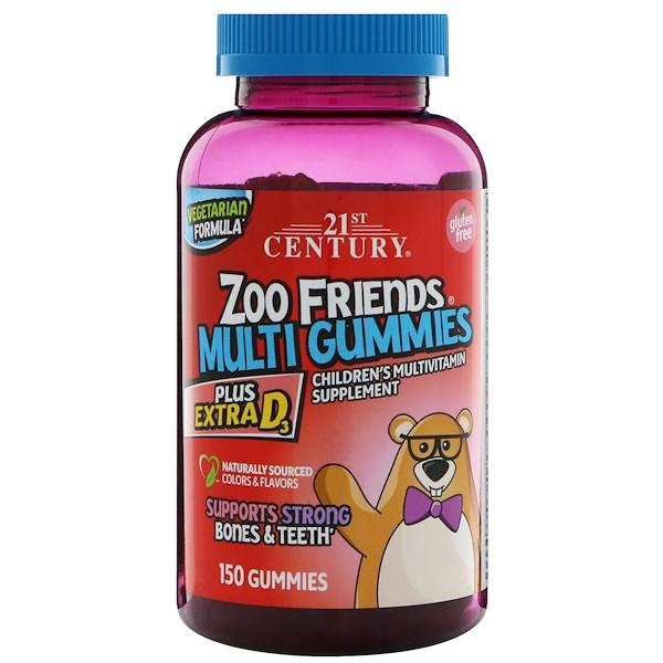 21st Century, Жевательные мультивитамины Друзья из Зоопарка, Мультивитаминная пищевая добавка для детей, 150 жевательных таблеток (Discontinued Item)