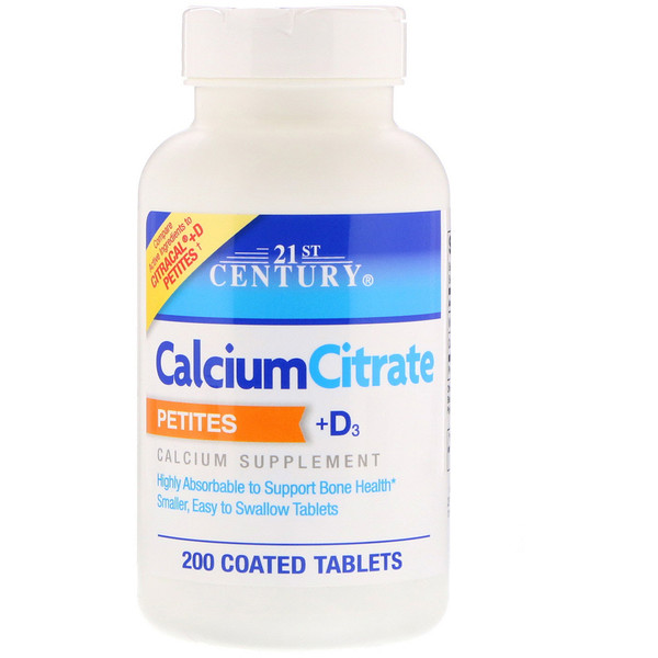 21st Century, Calcium Citrate Petites + D3, 200 Coated Tablets