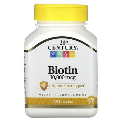 Купить 21st Century биотин, 10 000мкг, 120таблеток