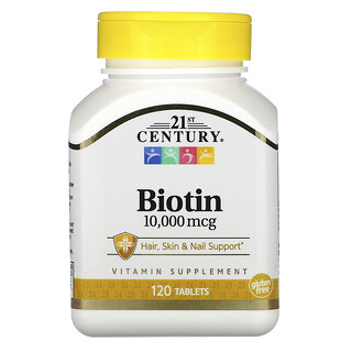 21st Century, Biotina, 10.000mcg, 120comprimidos