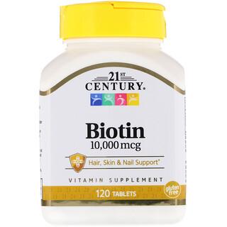21st Century, ビオチン、10,000 mcg、120錠