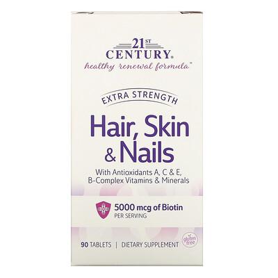 21st Century добавка для волос, кожи и ногтей, повышенная сила действия, 90таблеток