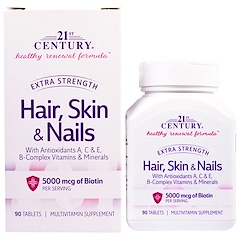 21st Century, Hair, Skin & Nails, Extra Strength, 90 Tablets