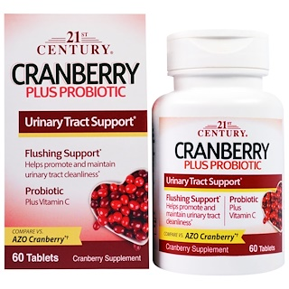 21st Century, Cranberry Plus Probiotic, 캡슐 60정