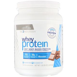 21st Century, ReNutrición, Proteína de suero, sabor a chocolate, 16 oz (454 g)