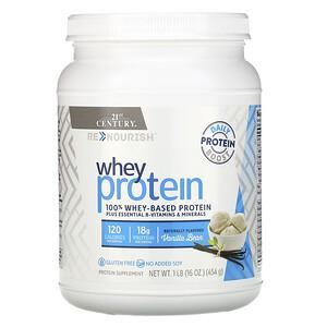 21 Сенчури, ReNourish, Whey Protein, Vanilla Bean, 1 lb (454 g) отзывы покупателей