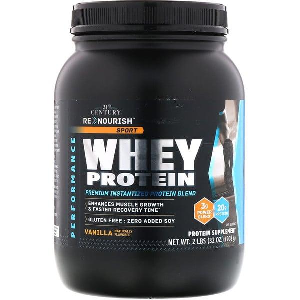 21st Century, ReNourish, Sport, Whey Protein, Vanilla, 2 lbs (908 g) (Discontinued Item)