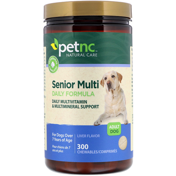 petnc NATURAL CARE, Senior Multi Daily Formula, Liver Flavor, Adult Dog, 300 Chewables