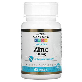 21st Century, Chelated Zinc, 50 mg, 60 Tablets