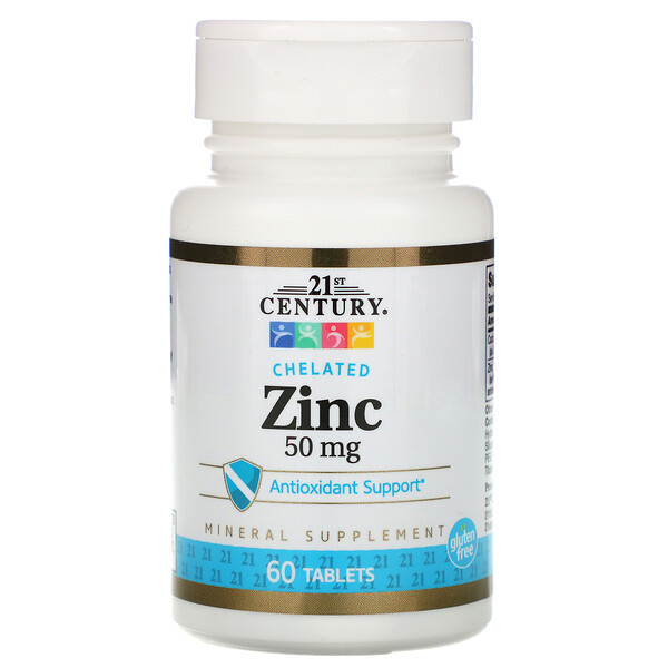 Zinc,  Chelated, 50 mg, 60 Tablets