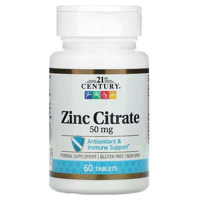 21st Century Zinc Citrate, 50 mg, 60 Tablets
