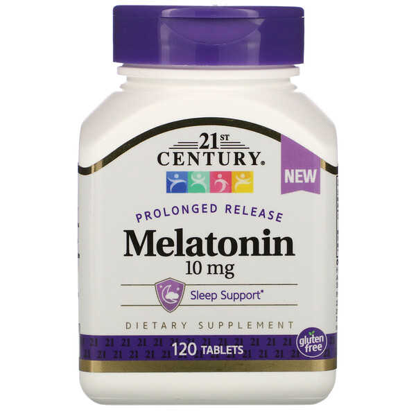 21st Century, Melatonin, Prolonged Release, 10 mg , 120 Tablets