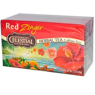 Купить Celestial Seasonings Травяной чай, без кофеина, Red Zinger, 20 чайных пакетиков, 1, 7 унций (49 г)