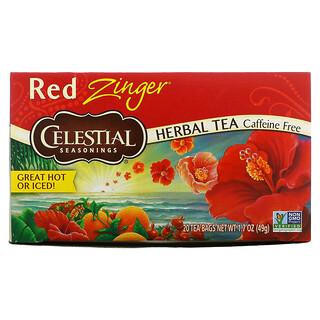 Celestial Seasonings, травяной чай, Red Zinger, без кофеина, 20чайных пакетиков, 49г (1,7унции)