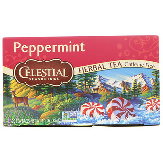 Celestial Seasonings, Herbal Tea, Peppermint, Caffeine Free, 20 Tea Bags, 1.1 oz (32 g)