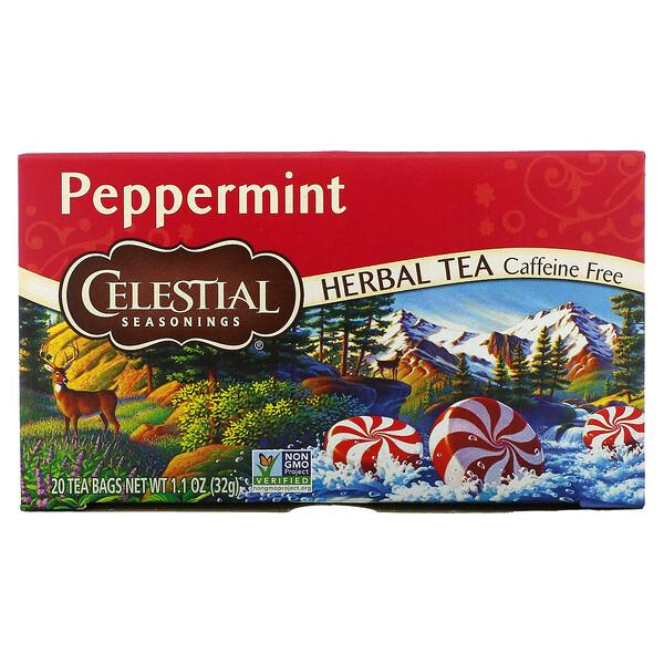Herbal Tea, Peppermint, Caffeine Free, 20 Tea Bags, 1.1 oz (32 g)