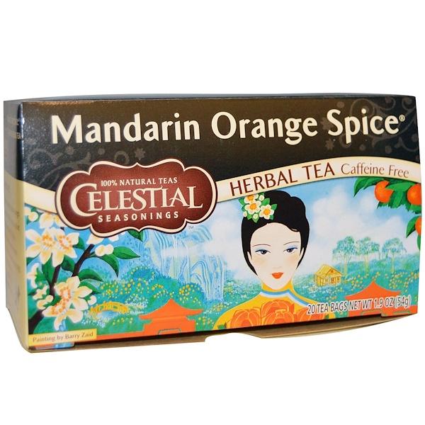 Celestial Seasonings, Mandarin Orange Spice Herbal Tea, Caffeine Free, 20 Tea Bags, 1、9 oz (54 g)