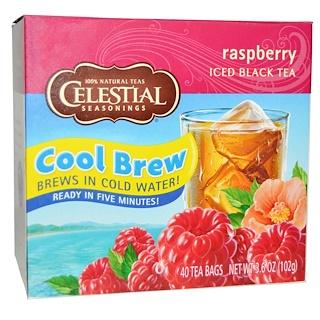 Celestial Seasonings, アイスブラックティー、ラズベリー、40ティーバッグ、3.6 oz (102 g)