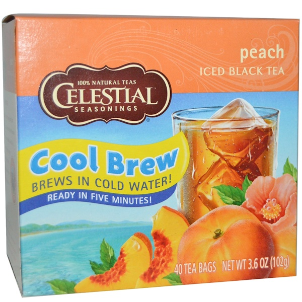 Celestial Seasonings, Iced Black Tea, Peach, 40 Tea Bags, 3、6  oz (102 g)