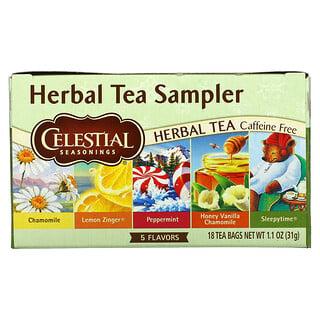 Celestial Seasonings, ハーブティーサンプラー、カフェインフリー、5種類の味、ティーバッグ18袋、30g(1.0オンス)