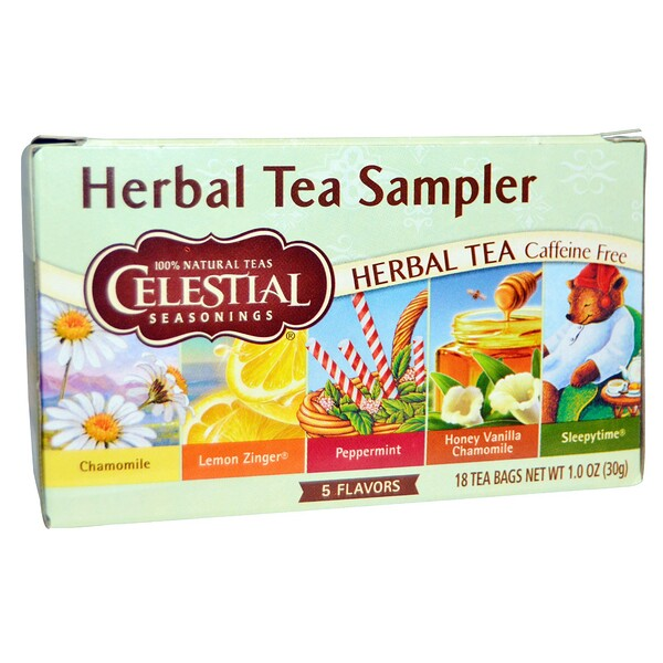 Herbal Tea Sampler, Caffeine Free, 5 Flavors, 18 Tea Bags, 1.0 oz (30 g)