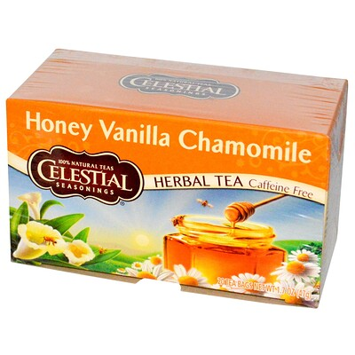 Celestial Seasonings Травяной чай, без кофеина, мед, ваниль и ромашка 20 чайных пакетиков, 1.7 унции (47 г)