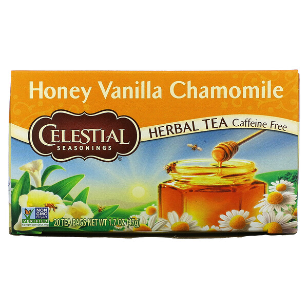 Herbal Tea, Honey Vanilla Chamomile, Caffeine Free, 20 Tea Bags, 1.7 oz (47 g)