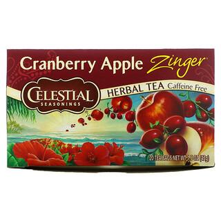 Celestial Seasonings, شاي أعشاب، تفاح وتوت بري Zinger، خالٍ من الكافيين، 20 كيس شاي، 1.5 أونصة (42 جم)