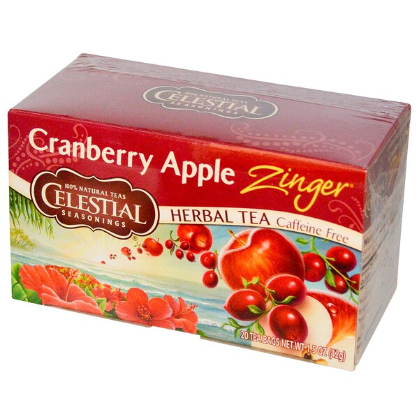 Herbal Tea, Cranberry Apple Zinger, Caffeine Free, 20 Tea Bags, 1.5 oz (42 g)