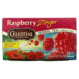 Celestial Seasonings, Herbal Tea, Raspberry Zinger, Caffeine Free, 20 Tea Bags, 1.6 oz (45 g)