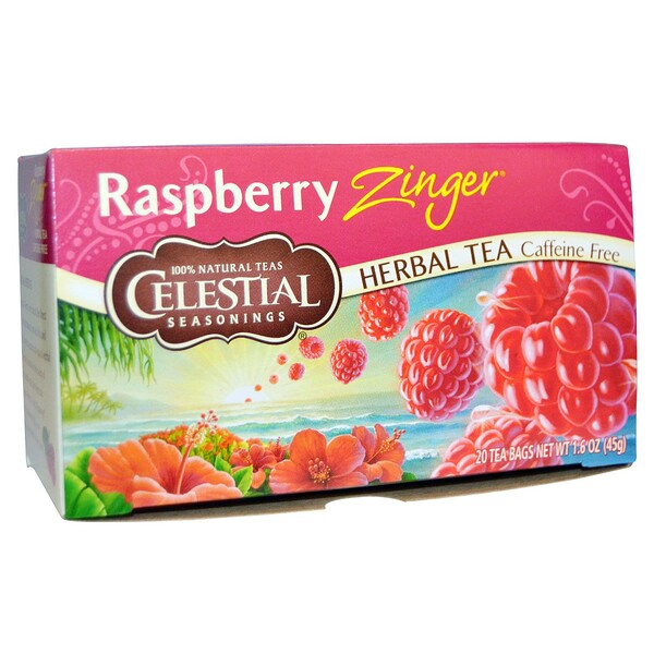Herbal Tea, Caffeine Free, Raspberry Zinger,  20 Tea Bags, 1.6 oz (45 g)