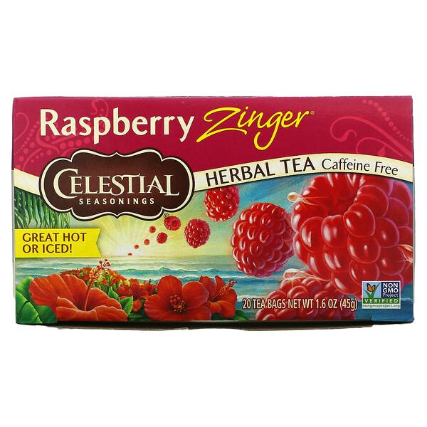 Herbal Tea, Raspberry Zinger, Caffeine Free, 20 Tea Bags, 1.6 oz (45 g)