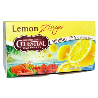 Celestial Seasonings, Herbal Tea, Caffeine Free, Lemon Zinger, 20 Tea Bags, 1.7 oz (47 g)