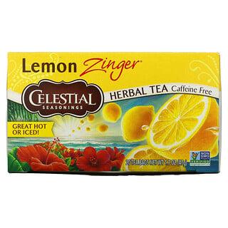 Celestial Seasonings, травяной чай, Lemon Zinger, без кофеина, 20чайных пакетиков, 47г (1,7унции)