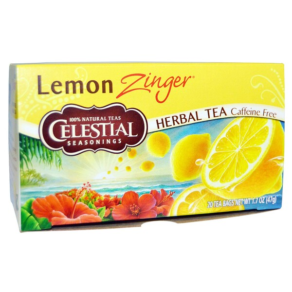 Celestial Seasonings, Herbal Tea, Caffeine Free, Lemon Zinger, 20 Tea Bags, 1、7 oz (47 g)