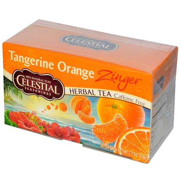 Celestial Seasonings, Herbal Tea, Caffeine Free, Tangerine Orange Zinger, 20 Tea Bags, 1.7 oz (47 g)