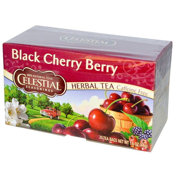 Herbal Tea, Black Cherry Berry, Caffeine Free, 20 Tea Bags, 1.6 oz (44 g)
