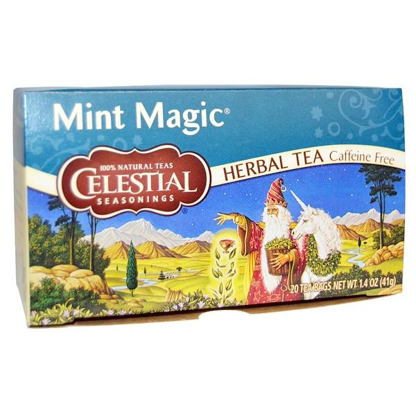 Celestial Seasonings, Mint Magic Herbal Teas, Caffeine Free, 20 Tea Bags, 1、4 oz (41 g)