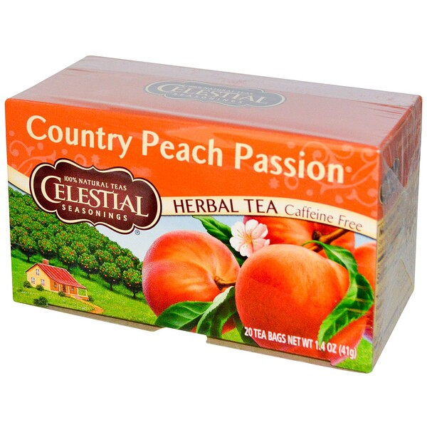 Celestial Seasonings, Chá de Ervas, Country Peach Passion, Sem Cafeína, 20 Saquinhos de Chá, 1,4 oz. (41 g)