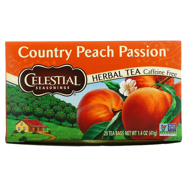 Celestial Seasonings, Té de hierbas, pasión de durazno del campo, sin cafeína, 20 bolsitas de té, 41 g (1,4 oz)