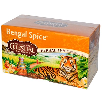 Купить Травяной чай, Bengal Spice, без кофеина, 20чайных пакетиков, 47г